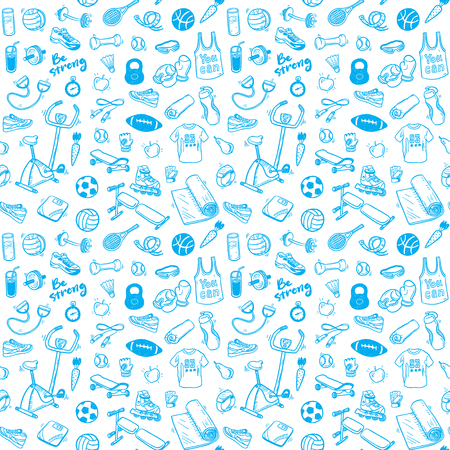 Seamless pattern  with hand drawn sport and healthy lifestyle elements Ilustração