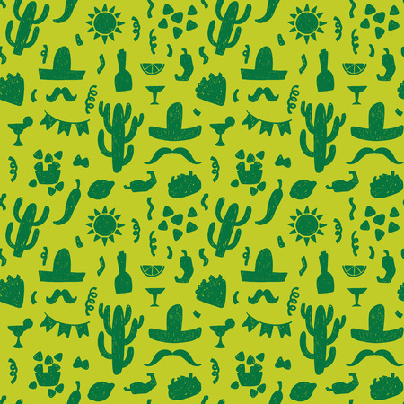 NACHO: Seamless doodle vector pattern with mexican festive symbols silhouettes: foods, cactuses, sombrero, pepper.