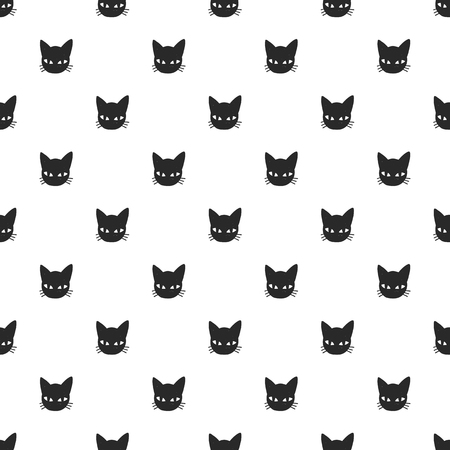 whisker characters: Seamless vector pattern with black cat head
