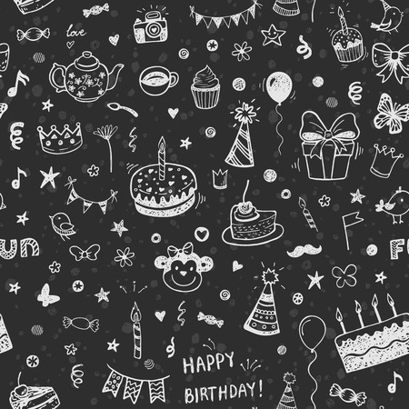happy birthday vector seamless pattern. Doodle chalk drawing background