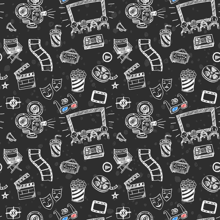 cinematographer: Hand drawn cinema seamless pattern. Doodle chalk drawing background