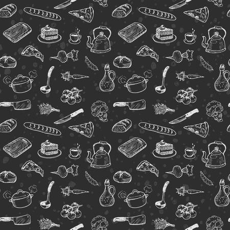 rebanada de pastel: Dibujado a mano cocinar patrón transparente. tiza dibujo de fondo de dibujo