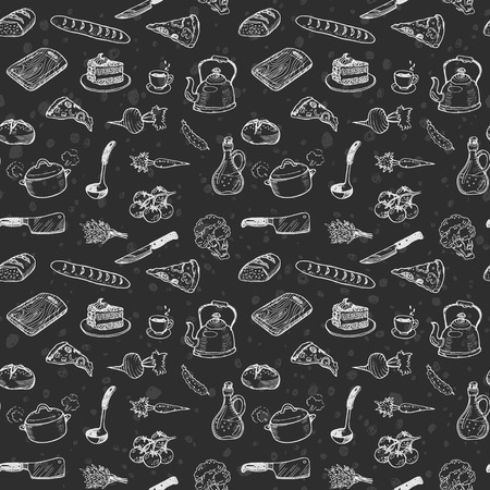 Hand drawn cooking seamless pattern. Doodle chalk drawing background