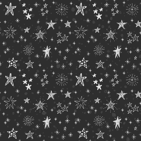 chalk drawing: Cute seamless black and white pattern with hand drawn stars. Doodle chalk drawing background