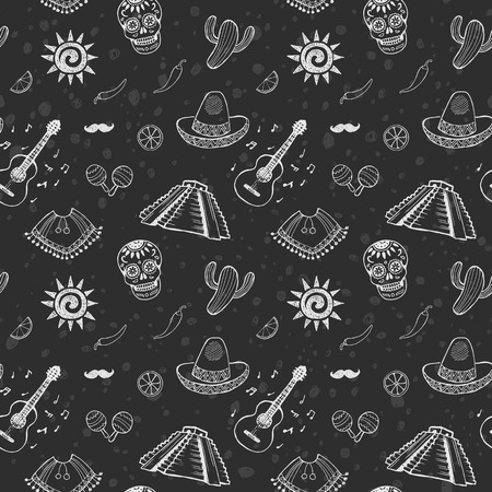 chalk drawing: Mexican sketch set. Seamless pattern. Doodle chalk drawing background