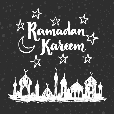 chalk drawing: Ramadan Kareem greeting card. Hand drawn mosque silhouette. Doodle chalk drawing background Illustration