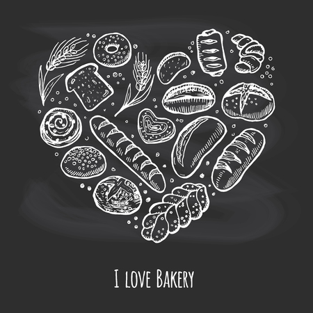white bread: I love bakery. Doodle chalk drawing background