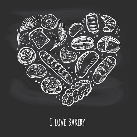 Ich liebe Bäckerei. Doodle Kreidezeichnung Hintergrund Standard-Bild - 55687217
