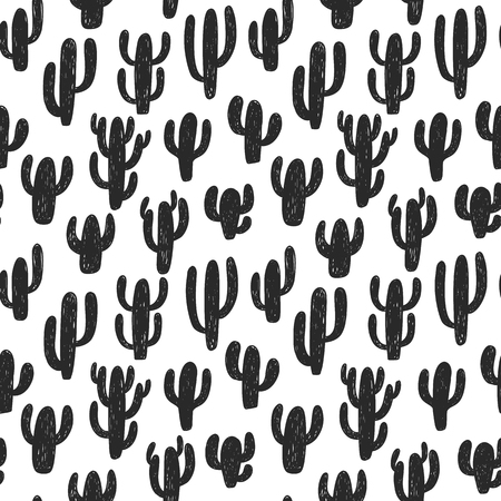 Seamless vector patten with  cactus silhouettes