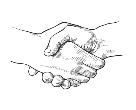 Hand drawn sketch illustration of a handshake