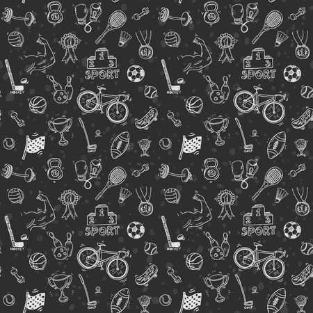 chalk drawing: Hand drawn doodle sport seamless pattern. Vector background for your design.