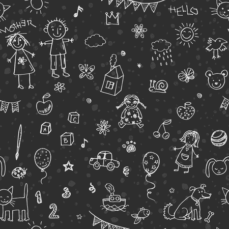 chalk drawing: Hand drawn doodle children drawing seamless pattern Illustration