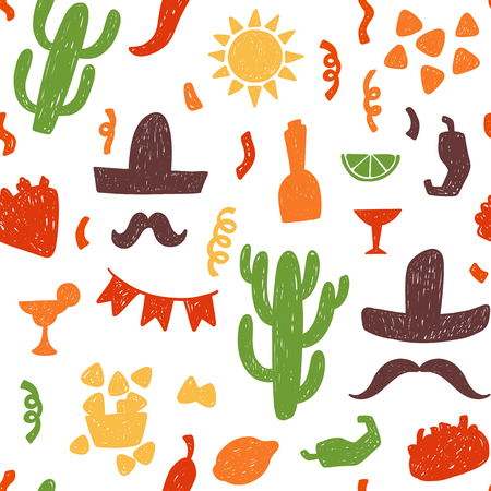 tortillas: Seamless doodle vector pattern with mexican festive signs and symbols