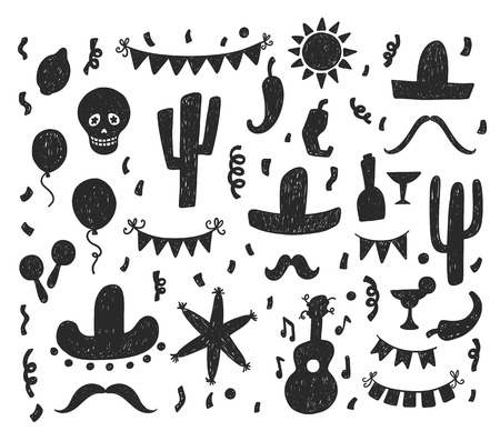 pinata: Hand drawn mexican party signs and symbols doodle silhouettes set Illustration