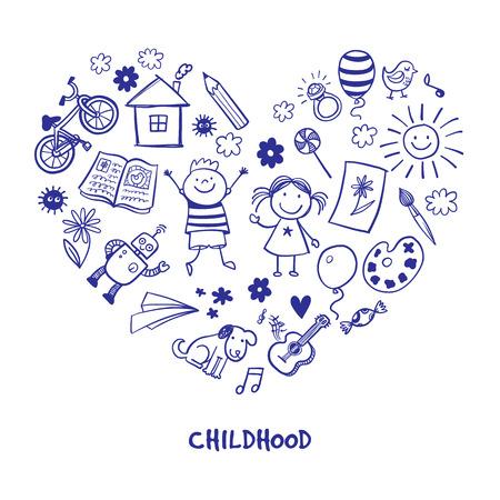 Happy children drawing vector doodle heart 免版税图像 - 55687434