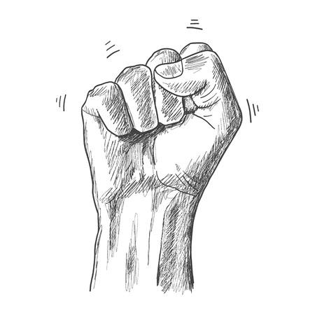 la union hace la fuerza: dibujo boceto puño gesto mano Vectores
