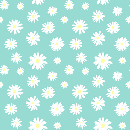 Cute seamless pattern with white chamomiles on a pastel blue background Çizim