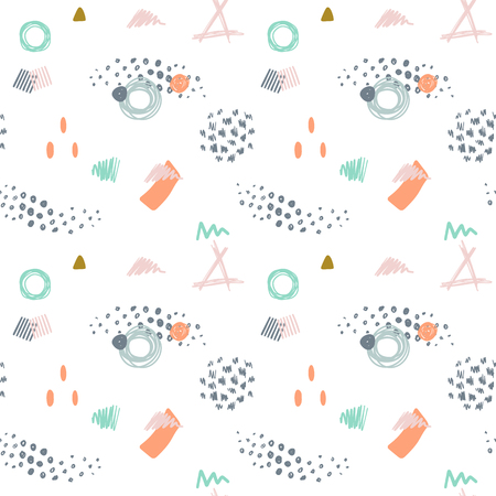 90th: vector modern abstract seamless pattern in trendy pastel colors