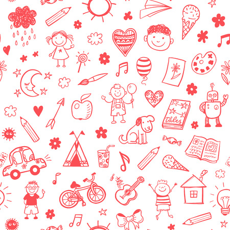smiley face car: Seamless pattern with doodle children drawing.