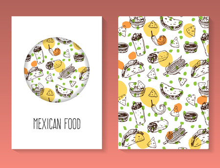 nachos: Hand drawn Mexican food brochure template. Vector background