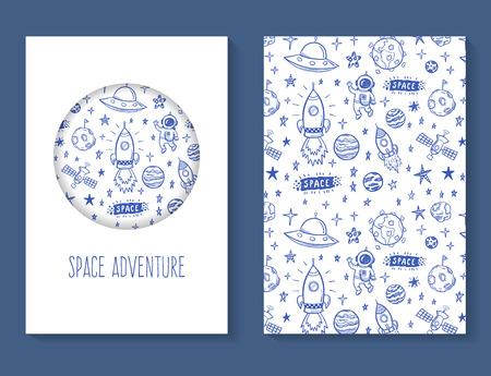 cosmonautics day: Space adventure doodles brochure template Illustration