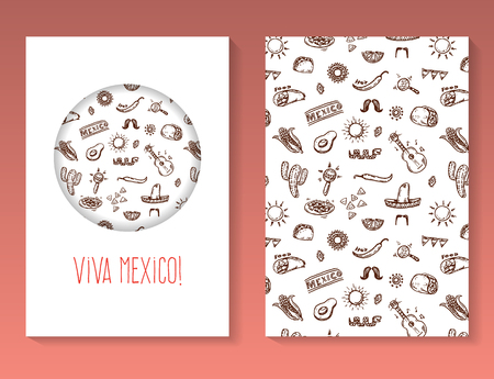 burrito: Hand drawn Mexican doodles brochure template. Vector background