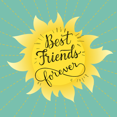 bff: Best friends forever vector illustration. hand lettering phrase. Retro greeting card for friendship day