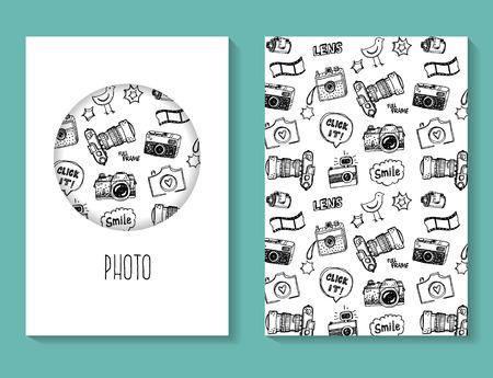 medium body: Photo doodles vector brochure, business card template