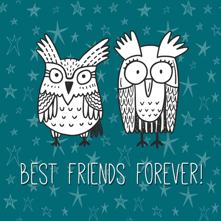 brotherhood: Best friends forever! Vector greeting card with funny doodle owls