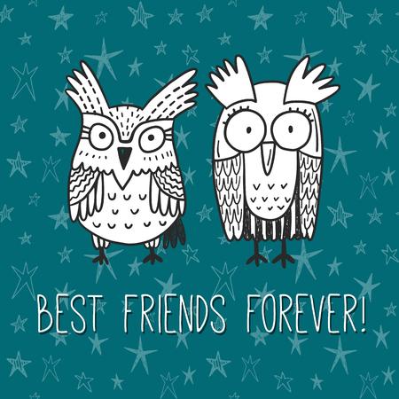 fraternidad: ¡Mejores amigos para siempre! tarjeta de felicitación del vector con los búhos divertidos garabatos Vectores