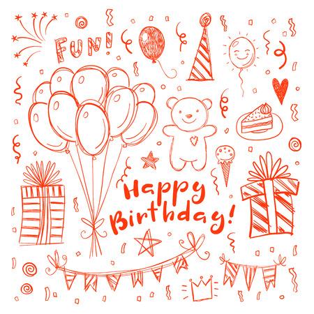 child birthday: Happy birthday funny doodle greeting card