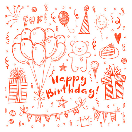 Happy birthday funny doodle greeting card