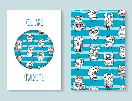 postcard template: Funny doodle owls postcard template Illustration