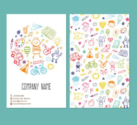 いたずら書き子供図面とパンフレット テンプレート