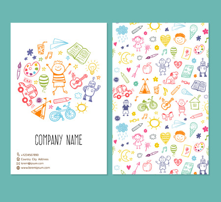 brochure template with doodle children drawing
