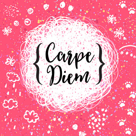 seize: Carpe diem - latin phrase means Capture the moment.. Inspirational quote modern  illustration. calligraphy art.