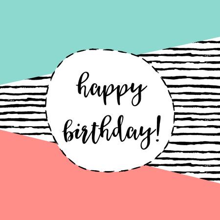 teenage girl happy: Happy Birthday greeting card. Modern illustration