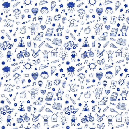 Nahtlose Muster mit Doodle Kinder zeichnen. Hand gezeichnet lustig Hintergrund