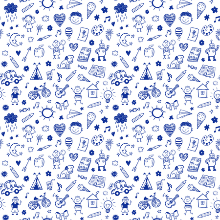 kindergarten toys: Seamless pattern with doodle children drawing. Hand drawn funny background