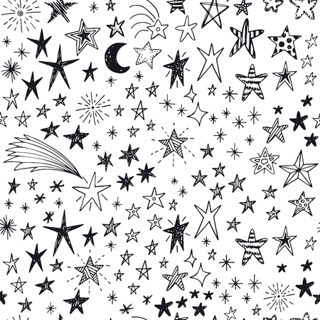 seamless pattern: Seamless pattern with hand drawn doodle stars