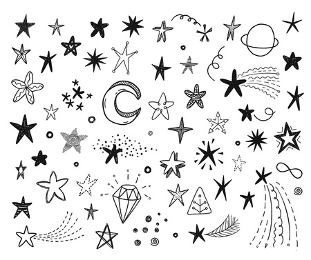 kid drawing: funny doodle stars set