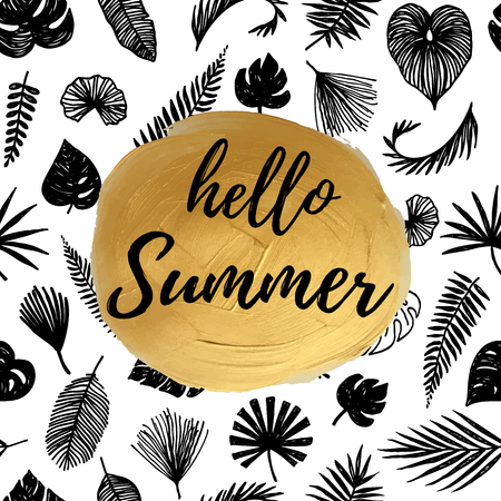 flower sketch: Hello summer phrase on a golden circle and black and white tropical background texture
