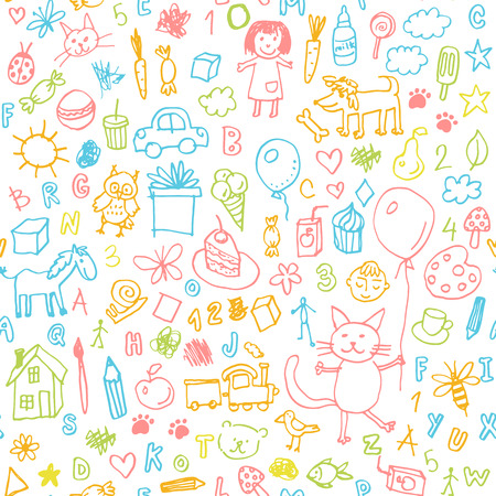 Funny children drawing doodle seamless pattern Illustration