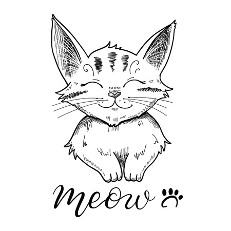 phrases: illustration of a cute smiling cat