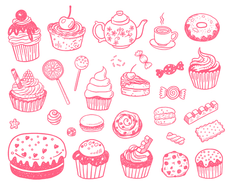 restaraunt: Set of various doodles,  sweets, cupcakes and candies sketches. illustration isolated on a white background