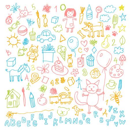 Funny children drawing doodle set. Illustration