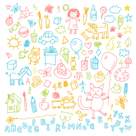 Funny children drawing doodle set. Stock Illustratie