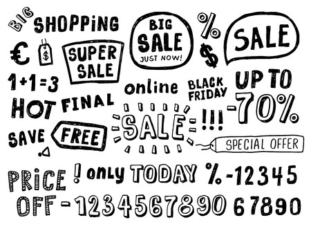 dollar sign: Hand Drawn Doodle style sale tag, numbers, and labels sketch Elements