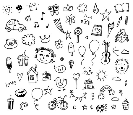 smiley face car: Set of various doodles,  children drawing sketches. illustration isolated on white background