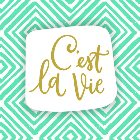 C'est la vie. French phrase means that's life. draw calligraphic quote for fashion clothes and cards